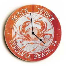 Custom Coordinates Crab Clock - Round Orange