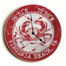 Custom Coordinates Crab Clock - Round Red