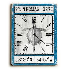 Custom Coordinates Vintage Sea Turtle Clock - Blue