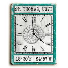 Custom Coordinates Vintage Shell Clock - Aqua