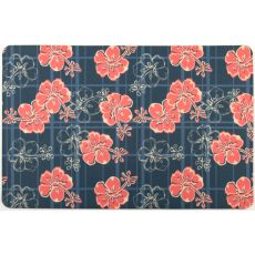 Hibiscus Plaid Floor Mat