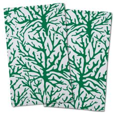 Coral Green Hand Towel (Set Of 2)