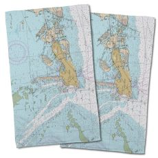 Fl: Key West, Fl Nautical Chart Hand Towel (Set Of 2)