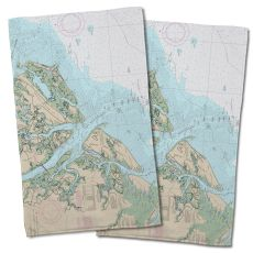 Sc: Hilton Head Island, Sc Nautical Chart Hand Towel (Set Of 2)