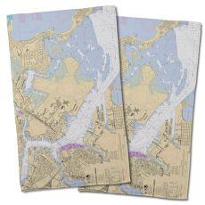 MA: Boston, MA Nautical Chart Hand Towel (Set of 2)