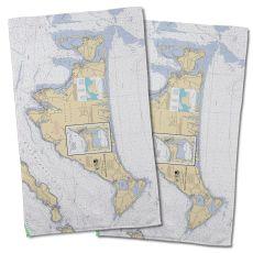 Ma: Martha'S Vineyard, Ma Nautical Chart Hand Towel (Set Of 2)
