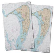 Ma: Nantucket, Ma Nautical Chart Hand Towel (Set Of 2)