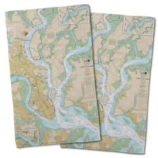 Sc: Charleston, Sc Nautical Chart Hand Towel (Set Of 2)