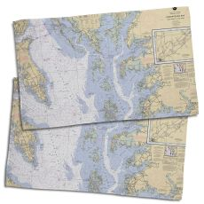 Md-Va: Chesapeake Bay, Md-Va Nautical Chart Hand Towel (Set Of 2)