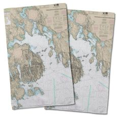 Me: Frenchman Bay, Mount Desert Island, Me Nautical Chart Hand Towel (Set Of 2)