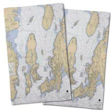Ri: Narragansett Bay, Ri Nautical Chart Hand Towel (Set Of 2)