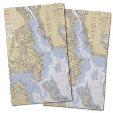 Ri: Providence River, Ri Nautical Chart Hand Towel (Set Of 2)