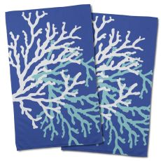 Coral Duo On Cobalt Hand Towel (Set Of 2)