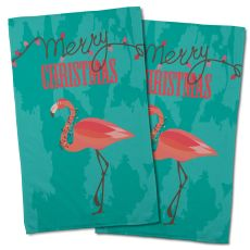Flamingo Christmas Hand Towel (Set Of 2)