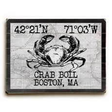 "Custom Coordinates Crab Sign - White Vintage Chart - 14""X20"""