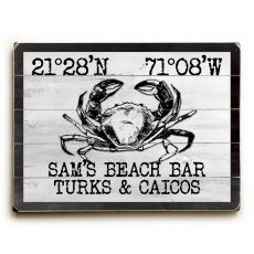 "Custom Coordinates Crab Sign - White, Basic - 14""X20"""