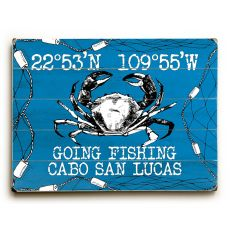 "Custom Coordinates Crab Sign - Blue - 14""x20"""