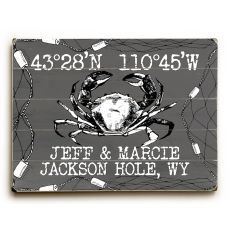 "Custom Coordinates Crab Sign - Gray - 14""X20"""
