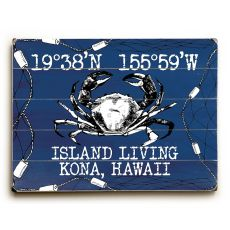 "Custom Coordinates Crab Sign - Navy - 14""X20"""