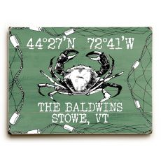 "Custom Coordinates Crab Sign - Nile Green - 30""X40"""