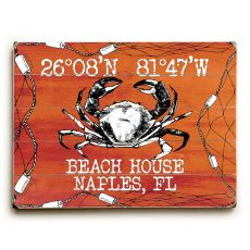 "Custom Coordinates Crab Sign - Orange - 14""X20"""