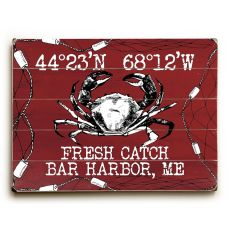 "Custom Coordinates Crab Sign - Red - 18""X24"""