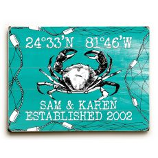 "Custom Coordinates Crab Sign - Sea Green - 14""X20"""