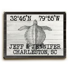 "Custom Coordinates Vintage Sea Turtle Sign - 14""X20"""