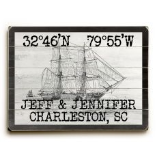 "Custom Coordinates Vintage Ship Sign - 18""X24"""