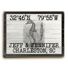 "Custom Coordinates Vintage Seahorse Sign - 25""X34"""