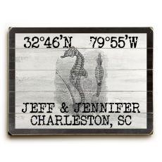 "Custom Coordinates Vintage Seahorse Sign - 30""X40"""