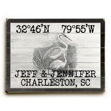 "Custom Coordinates Vintage Egrets Sign - 18""X24"""