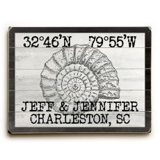 "Custom Coordinates Vintage Shell Sign - 25""X34"""