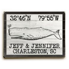 "Custom Coordinates Vintage Whale Sign - 14""X20"""