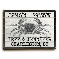 "Custom Coordinates Vintage Crab Sign - 14""X20"""