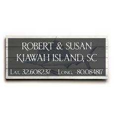 "Custom Latitude & Longitude Sign - Lg Sailfish Gray - 10""X24"""
