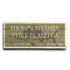 "Custom Latitude & Longitude Sign - Lg Sailfish Khaki - 14""X32"""
