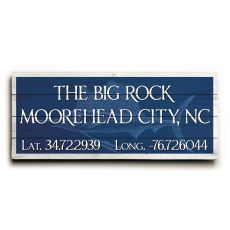 "Custom Latitude & Longitude Sign - Lg Sailfish Navy - 10""X24"""