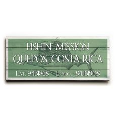 "Custom Latitude & Longitude Sign - Lg Sailfish Nile Green - 10""X24"""