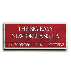 "Custom Latitude & Longitude Sign - Lg Sailfish Red - 14""X32"""