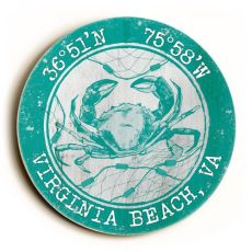 Custom Coordinates Round Crab Sign - Aqua