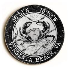 Custom Coordinates Round Crab Sign - White W/Black Vintage Chart Frame