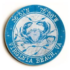 Custom Coordinates Round Crab Sign - Blue