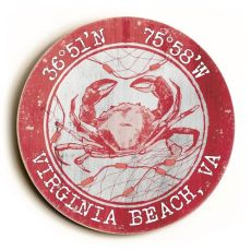 Custom Coordinates Round Crab Sign - Coral