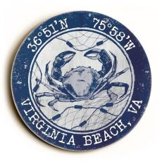 Custom Coordinates Round Crab Sign - Navy