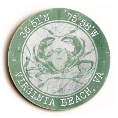 Custom Coordinates Round Crab Sign - Nile Green