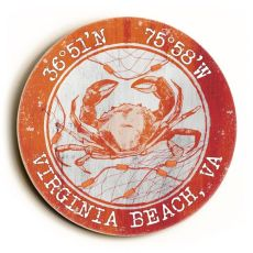 Custom Coordinates Round Crab Sign - Orange