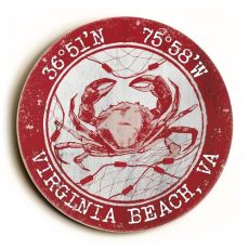 Custom Coordinates Round Crab Sign - Red