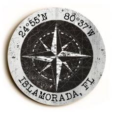 Custom Coordinates Round Sign - Black Vintage Chart W/White Frame