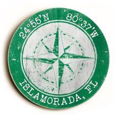 Custom Coordinates Round Sign - Green